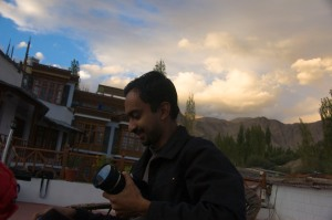 Shrinath against the awesome evening sky at Lasermo