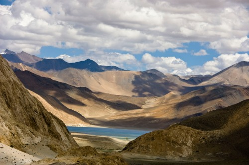 Our hearts start pounding on seeing the first views of Pangong Lake